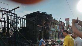 صور.. حريق يلتهم أكشاك ومحال بسوق محطة مصر في الإسكندرية