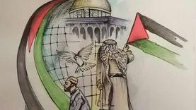 «سيد».. رسام جسد القضية الفلسطينية بلوحتي «صرخة وأمل»