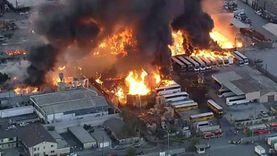رعب في كاليفورنيا.. حريق ضخم يلتهم المنطقة الصناعية (فيديو)