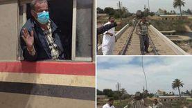 سائق يوقف قطار بسبب سلك كهرباء على شريط السكة الحديد بالشرقية