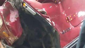 فيديو حصري يوثِّق لحظة سقوط سيارة من أعلى محور صفط اللبن