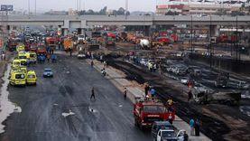 أهالي حادث حريق خط البترول يتجمعون أمام مستشفى السلام العام