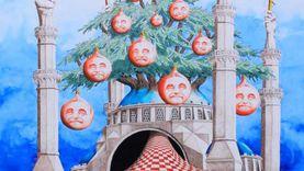 تضامنا مع بيروت.. فنان تشكيلي يلخص أوضاع لبنان في لوحة فنية