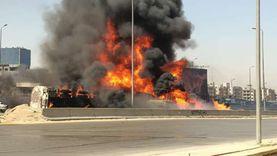 التحقيقات: انقلاب سيارة بترول وراء حادث الدائري وتفحم 7 سيارات