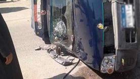 إصابة مجندين في تصادم سيارة شرطة مع ميكروباص بالفيوم