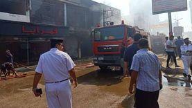 السيطرة على حريق هائل بمعرض للملابس ومخبز وعدة محلات في كفر شكر