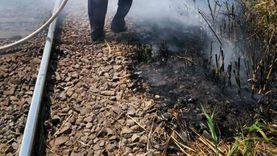 السيطرة على حريق بجوار شريط السكة الحديد بالمنوفية