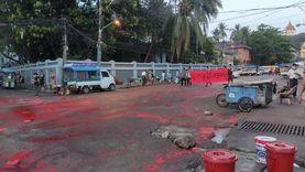 شوارع ميانمار تستغيث من الديكتاتورية باللون الأحمر: «لن يحكمونا» «صور»