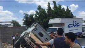 إصابة 9 عمال في حادث انقلاب سيارة ربع نقل في الفيوم