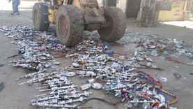 حصيلة أسبوعين.. إعدام 450 «شيشة» بعد مصادرتها بكوم حمادة (صور)