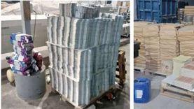 ضبط 700 ألف عبوة كرتونية وملصق لمستحضرات تجميل ومنتجات مقلدة داخل مطبعة