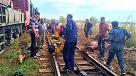 إعادة جرار قطار بضائع لمساره بعد اصطدامه بـ«جاموسة» في الدقهلية
