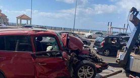 إصابة 6 في تصادم 5 سيارات بكورنيش الإسكندرية
