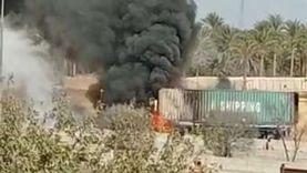 """تفحم سائق """"نقل ثقيل"""" اشتعلت النار في سيارته بـ""""صحراوي"""" البحيرة"""