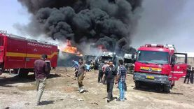 حريق هائل في معهد صقر قريش الابتدائي في المعادي
