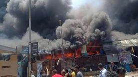 عاجل.. السيطرة على حريق سوق توشكى بحلوان