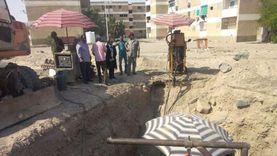 بالصور.. ربط الشبكات الفرعية للصرف الصحي بالرئيسية في سفاجا