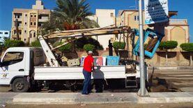 إزالة الدعاية الانتخابية من علي جدران المنشآت الحكومية بالشرقية