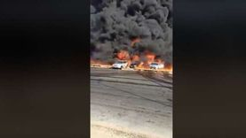 عاجل.. مصدر أمني: 10 سيارات تضررت في حريق طريق الإسماعيلية وبعضها تفحم