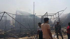 الحماية المدنية تسيطر على حريق سوق حلوان.. ولا خسائر بالأرواح