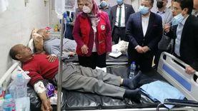 وزيرة التضامن تتفقد مصابي حادث القطار بمستشفى بنها الجامعي
