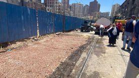 هبوط أرضي بوسط الإسكندرية بسبب كسر مفاجئ بخط مياه (صور)
