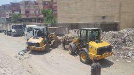 الجيزة: رفع 1200طن مخلفات بمنطقة السكة الكبيرة في أوسيم