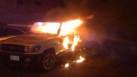 اشتعال النيران فيسيارة علي الطريق الإقليمي بالمنوفية