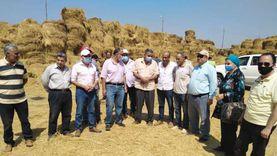 """مسئولو """"الزراعة"""" و""""البيئة"""" يتابعون أعمال منظومة جمع وتدوير قش الأرز بكفر الشيخ"""