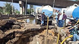 انفجار خط مياه رئيسي وانقطاع المياه عن مدينة شبين الكوم بشكل مفاجئ
