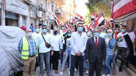 مرشحا القائمة الوطنية في مسيرة بالإسكندرية لحث المواطنين على المشاركة