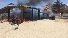 حريق هائل في كافتيريا على شاطئ البحر بالعريش