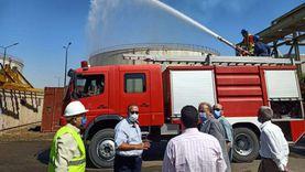 محاكاة لتجربة إطفاء حريق بمحطة كهرباء الوليديةفي أسيوط