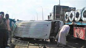 إصابة 7 أشخاص في تصادم ميكروباص و«تريلا» بالدقهلية