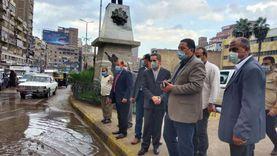 صور.. محافظالغربيةيتابع أعمال شفط مياه الأمطار