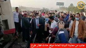 معاينة النيابة لموقع حادث قطار بنها