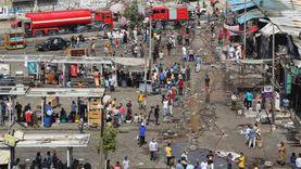 """رئيس حي حلوان عن حريق سوق توشكي: """"بيقولوا واحد ولع في كمامته"""""""