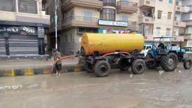 رؤساء مدن كفر الشيخ في الشوارع لسحب تراكمات المياه