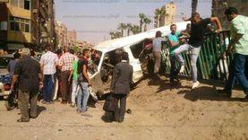 بالأسماء.. إصابة 8 أشخاص في حادث انقلاب سيارة بالفيوم