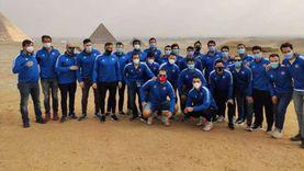 لاعبو منتخبات كأس العالم لليد يحتفلون بزيارة الأهرامات