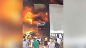 حريق هائل بمخزن قطع غيار سيارات في صفط اللبن