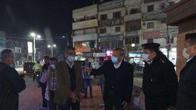 محافظ القليوبية يقود حملة ليلية لتطهير شوارع شبين القناطر من الإشغالات