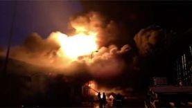 الحماية المدنية تواصل عمليات التبريد لحريق مصنع الكيماويات بالسادات