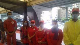 فريق الهلال الأحمر يتابع حالة الناخبين بالجامعة العمالية
