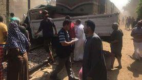 قطار يصطدم بسيارة نصف نقل في المنوفية ولا إصابات