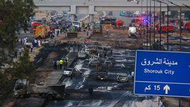 مصابون وتحقيق وسيارات متفحمة.. حصيلة حريق خط بترول طريق الإسماعيلية