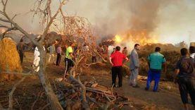 السيطرة على حريق في موقع لتجميع قش الأرز بالدقهلية «فيديو»