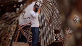 أكبر تمثال في 2021.. ابراهيم صلاح نحات يبدع في  اعادة استخدام الخردة
