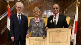 السفارة اليابانية تتوج فايزة أبو النجا وزوجها بوسام الشمس المشرقة