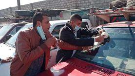 """إلزام المواطنين والسائقين بارتداء الكمامات داخل سيارات الأجرة بـ""""ملوي"""""""